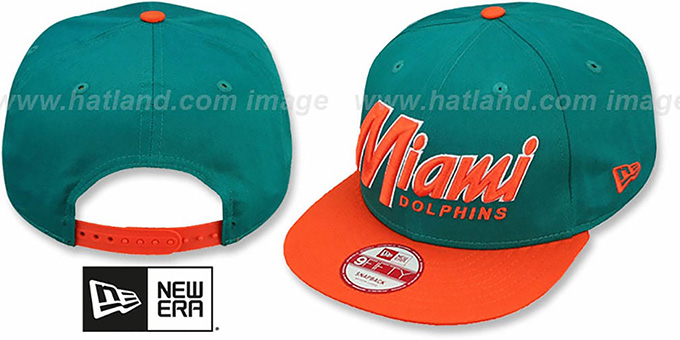 Dolphins 'SNAP-IT-BACK SNAPBACK' Aqua-Orange Hat by New Era : pictured without stickers that these products are shipped with