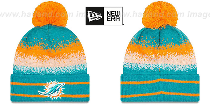 Dolphins 'SPEC-BLEND' Knit Beanie Hat by New Era : pictured without stickers that these products are shipped with