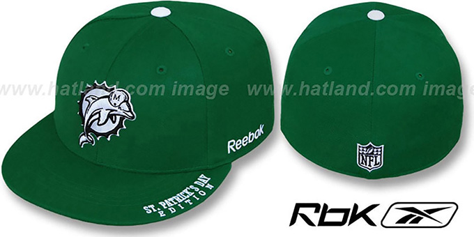 Dolphins 'St Patricks Day' Green Fitted Hat by Reebok : pictured without stickers that these products are shipped with