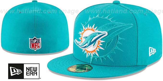 Dolphins 'STADIUM SHADOW' Aqua Fitted Hat by New Era : pictured without stickers that these products are shipped with