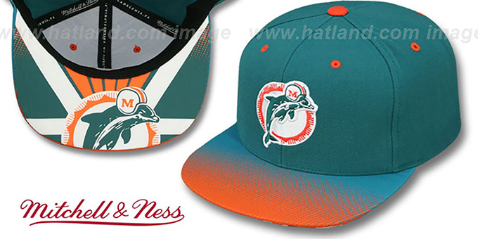 Dolphins 'STOP-ON-A-DIME SNAPBACK' Aqua-Orange Hat by Mitchell and Ness : pictured without stickers that these products are shipped with