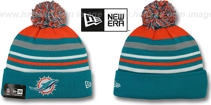 Dolphins 'STRIPEOUT' Knit Beanie Hat by New Era : pictured without stickers that these products are shipped with