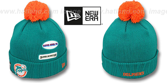 Dolphins 'SUPER BOWL PATCHES' Aqua Knit Beanie Hat by New Era : pictured without stickers that these products are shipped with