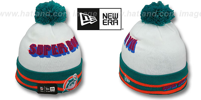 Dolphins 'SUPER BOWL VII' White Knit Beanie Hat by New Era : pictured without stickers that these products are shipped with