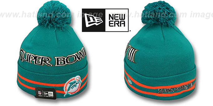 Dolphins 'SUPER BOWL VIII' Aqua Knit Beanie Hat by New Era : pictured without stickers that these products are shipped with