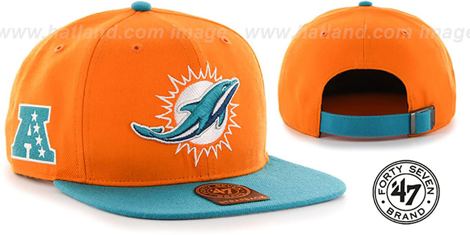 Dolphins 'SUPER-SHOT STRAPBACK' Orange-Aqua Hat by Twins 47 Brand : pictured without stickers that these products are shipped with