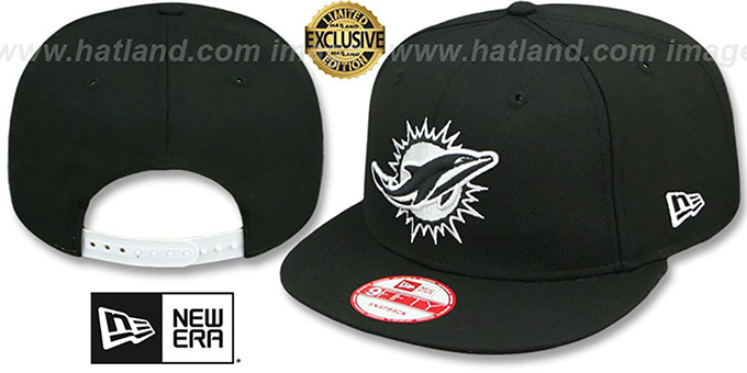 Dolphins 'TEAM-BASIC SNAPBACK' Black-White Hat by New Era : pictured without stickers that these products are shipped with