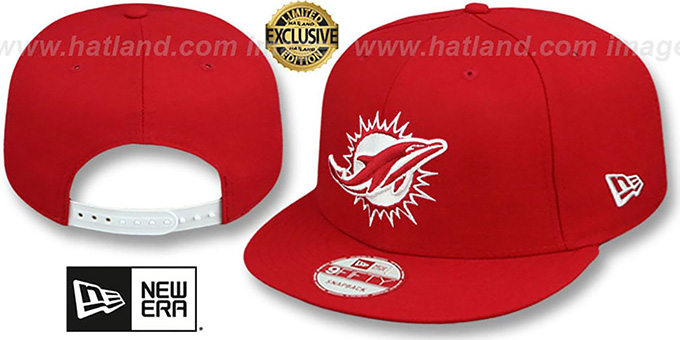Dolphins 'TEAM-BASIC SNAPBACK' Red-White Hat by New Era : pictured without stickers that these products are shipped with