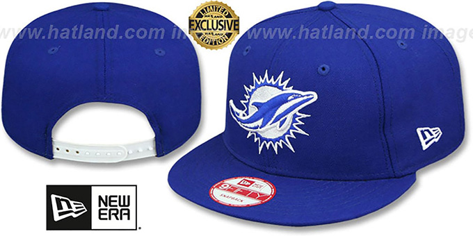 Dolphins 'TEAM-BASIC SNAPBACK' Royal-White Hat by New Era : pictured without stickers that these products are shipped with