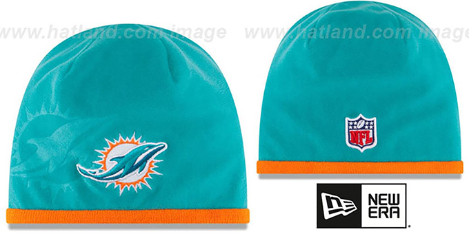Dolphins 'TECH-KNIT STADIUM' Aqua-Orange Knit Beanie Hat by New Era : pictured without stickers that these products are shipped with