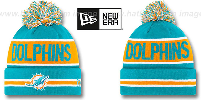 Dolphins 'THE-COACH' Aqua Knit Beanie Hat by New Era : pictured without stickers that these products are shipped with
