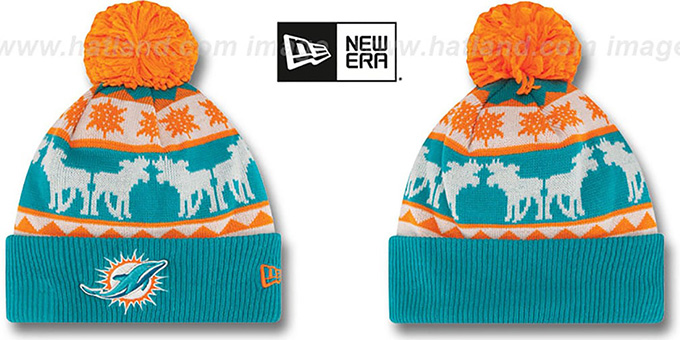 Dolphins 'THE-MOOSER' Knit Beanie Hat by New Era : pictured without stickers that these products are shipped with