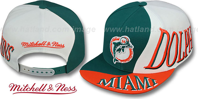 Dolphins 'THE SKEW SNAPBACK' Hat by Mitchell & Ness : pictured without stickers that these products are shipped with