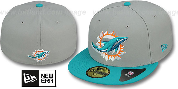 Dolphins 'TRACE-POP' Grey-Aqua Fitted Hat by New Era : pictured without stickers that these products are shipped with