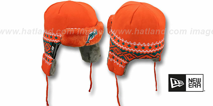 Dolphins 'TRAPPER' Orange Knit Hat by New Era : pictured without stickers that these products are shipped with