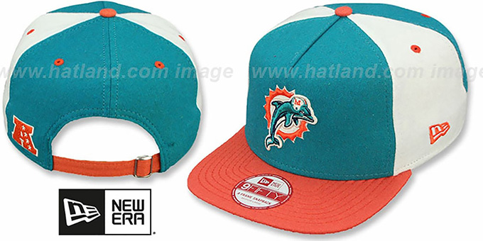 Dolphins 'TRIPLE MELTON STRAPBACK' Aqua-White-Orange Hat by New Era : pictured without stickers that these products are shipped with