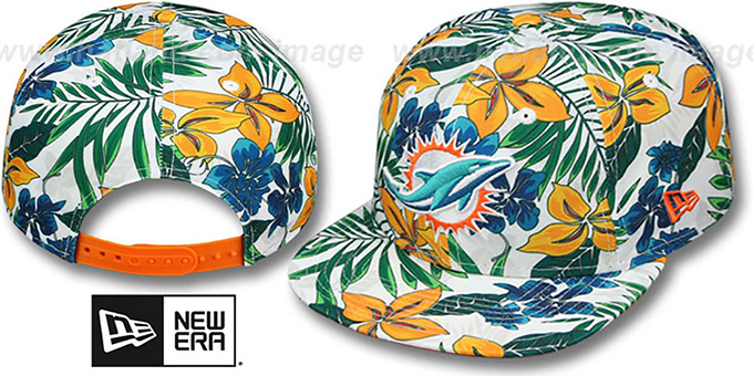 Dolphins 'TROPTRIP BLOOM SNAPBACK' Hat by New Era : pictured without stickers that these products are shipped with