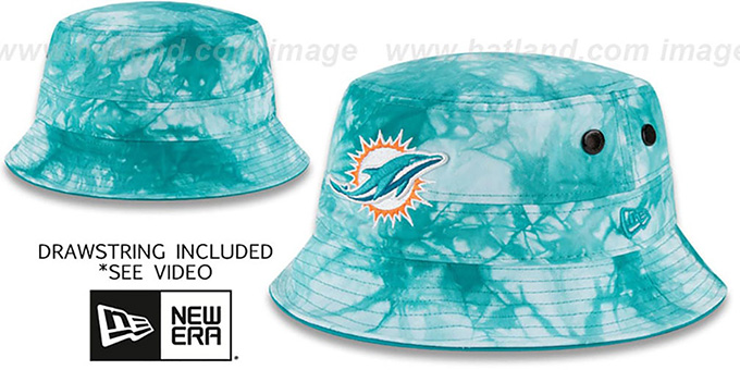 Dolphins 'TYE-DYE ZONE' Bucket Hat by New Era : pictured without stickers that these products are shipped with