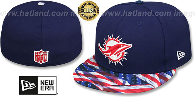Dolphins 'USA WAVING-FLAG' Navy Fitted Hat by New Era : pictured without stickers that these products are shipped with