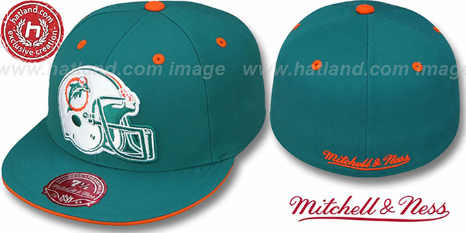 Dolphins 'XL-HELMET' Aqua Fitted Hat by Mitchell & Ness : pictured without stickers that these products are shipped with