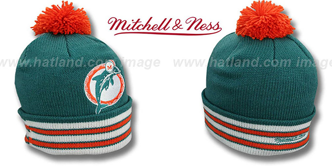 Dolphins 'XL-LOGO BEANIE' Aqua by Mitchell and Ness : pictured without stickers that these products are shipped with
