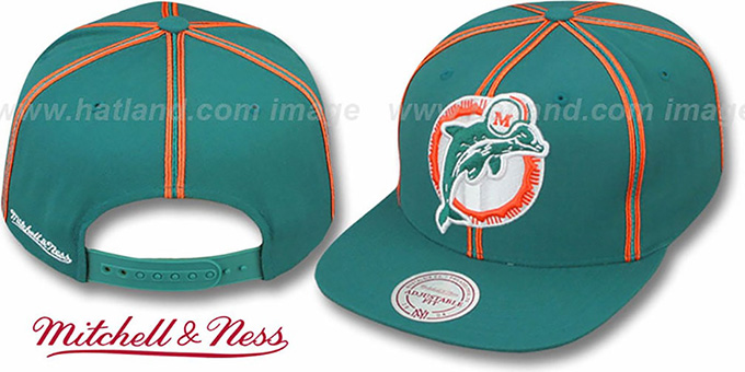 Dolphins 'XL-LOGO SOUTACHE SNAPBACK' Aqua Adjustable Hat by Mitchell and Ness : pictured without stickers that these products are shipped with