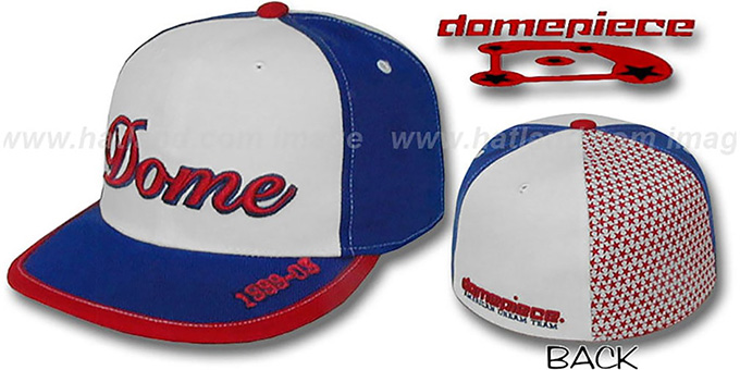 Domepiece 1999-03 'DOME PINWHEEL' White-Royal Hat : pictured without stickers that these products are shipped with