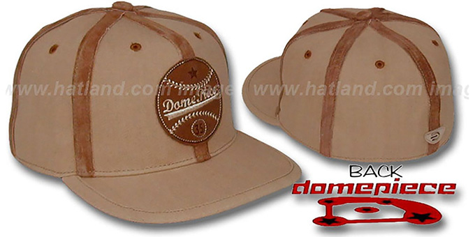 Domepiece 'BASEBALL LOGO' Wheat-Leather Hat : pictured without stickers that these products are shipped with