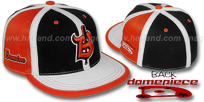 Domepiece 'BRAWLERS PINWHEEL' Black-Orange-White Hat : pictured without stickers that these products are shipped with