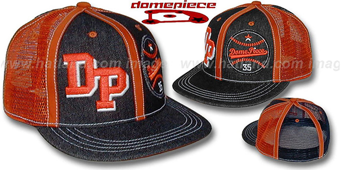 Domepiece 'DP-BASEBALL DUAL LOGO' Black-Orange Hat : pictured without stickers that these products are shipped with