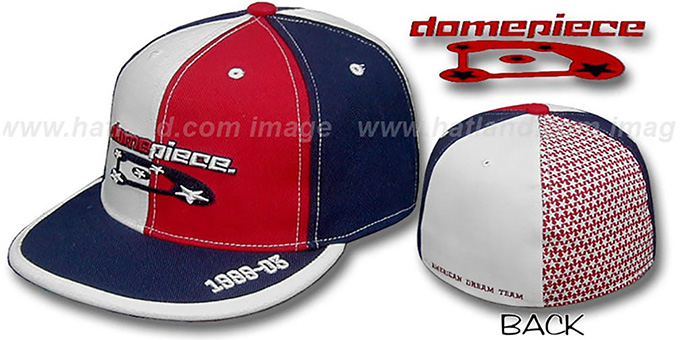 Domepiece 'TRADEMARK PINWHEEL' White-Red-Navy Hat : pictured without stickers that these products are shipped with