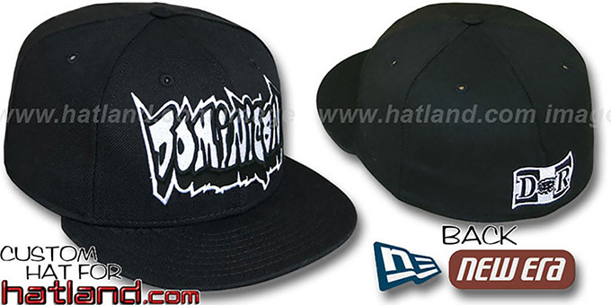Dominican 'GRAFFITI' Black Fitted Hat by New Era : pictured without stickers that these products are shipped with