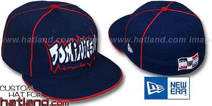 Dominican 'GRAFFITI PIPING-2' Navy Fitted Hat by New Era : pictured without stickers that these products are shipped with