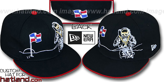 Dominican 'MOONMAN' Black Fitted Hat by New Era : pictured without stickers that these products are shipped with