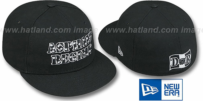 Dominican Republic 'ASPHALT REGIME' Black Fitted Hat by New Era : pictured without stickers that these products are shipped with