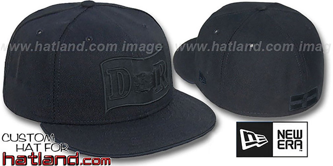 Dominican Republic 'BLACKOUT' Fitted Hat by New Era : pictured without stickers that these products are shipped with