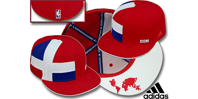 Dominican Republic 'WORLD NBA' Red Fitted Hat by adidas : pictured without stickers that these products are shipped with