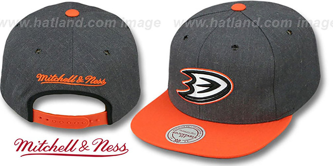 Ducks '2T-HEATHER SNAPBACK' Grey-Orange Hat by Mitchell & Ness : pictured without stickers that these products are shipped with