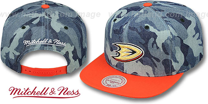 Ducks 'DENIM-CAMO SNAPBACK' Blue Hat by Mitchell and Ness : pictured without stickers that these products are shipped with
