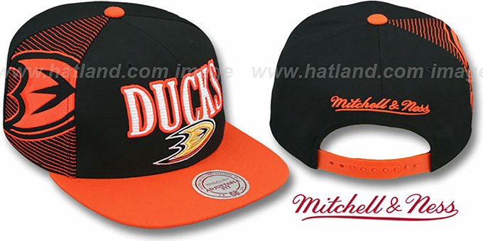 Ducks 'LASER-STITCH SNAPBACK' Black-Orange Hat by Mitchell & Ness : pictured without stickers that these products are shipped with
