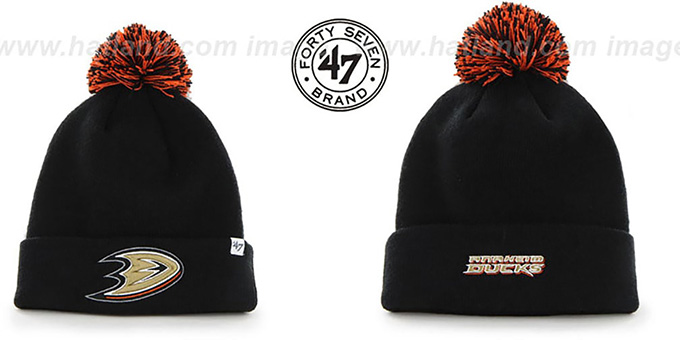 Ducks 'POMPOM CUFF' Black Knit Beanie Hat by Twins 47 Brand : pictured without stickers that these products are shipped with