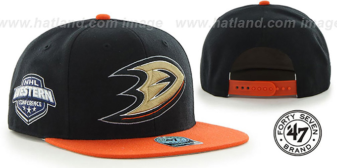 Ducks 'SURE-SHOT SNAPBACK' Black-Orange Hat by Twins 47 Brand : pictured without stickers that these products are shipped with