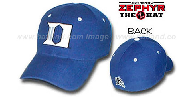 Duke 'DH' Fitted Hat by ZEPHYR - royal : pictured without stickers that these products are shipped with