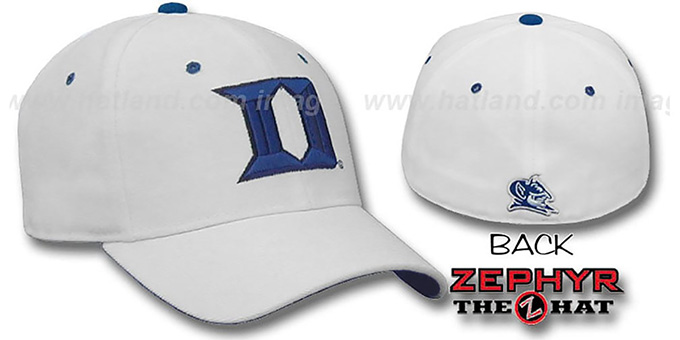 Duke 'DH' Fitted Hat by ZEPHYR - white : pictured without stickers that these products are shipped with