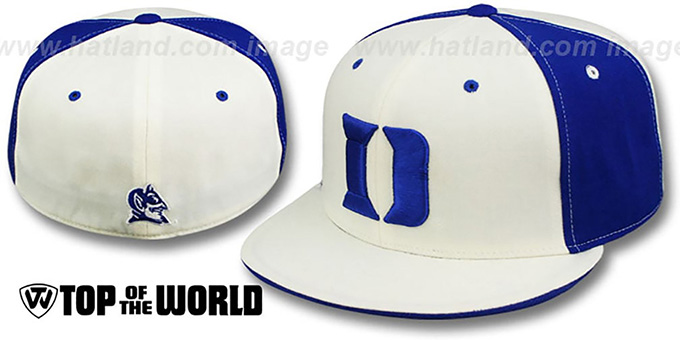 Duke 'PINWHEEL' White-Royal Fitted Hat by Top Of The World : pictured without stickers that these products are shipped with