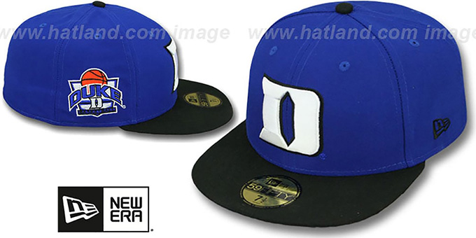 Duke 'SIDE BASKETBALL-PATCH' Royal-Black Fitted Hat by New Era : pictured without stickers that these products are shipped with