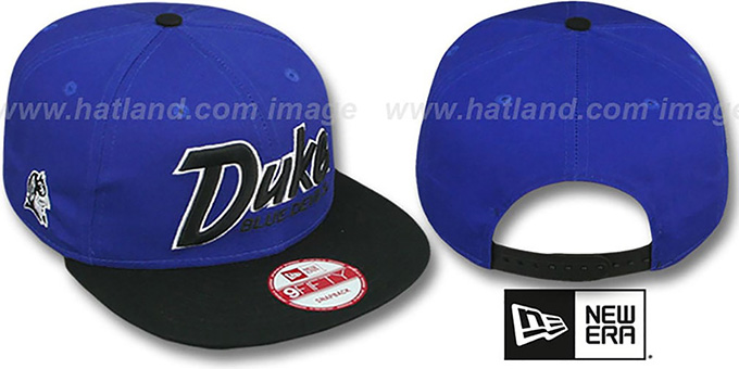Duke 'SNAP-IT-BACK SNAPBACK' Royal-Black Hat by New Era : pictured without stickers that these products are shipped with