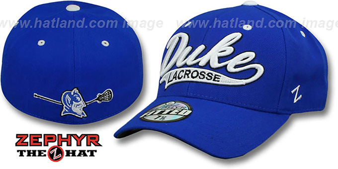 Duke 'SWOOP LACROSSE' Royal Fitted Hat by Zephyr : pictured without stickers that these products are shipped with