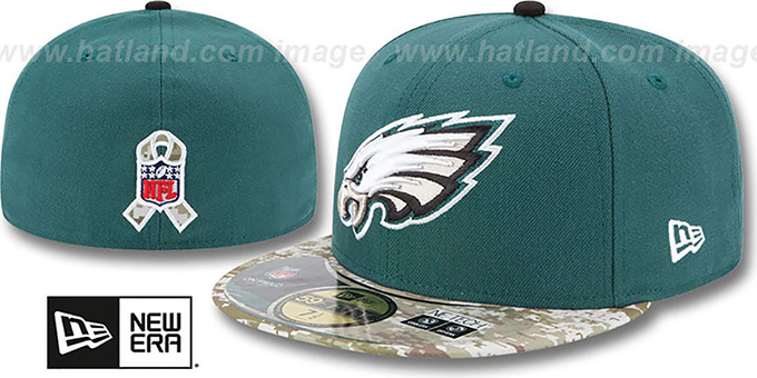 Eagles '2014 SALUTE-TO-SERVICE' Green-Desert Fitted Hat by New Era : pictured without stickers that these products are shipped with