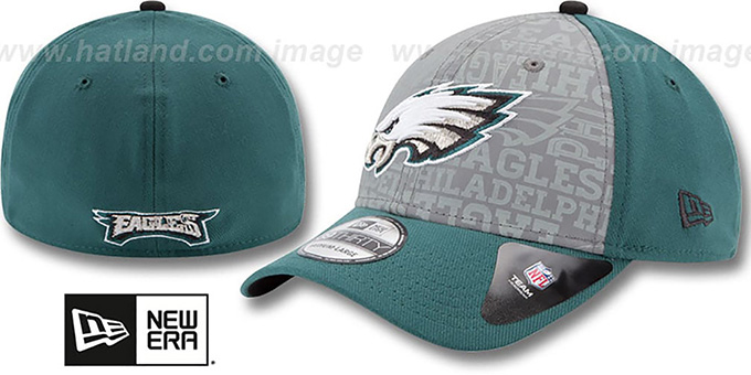 Eagles '2014 NFL DRAFT FLEX' Green Hat by New Era : pictured without stickers that these products are shipped with